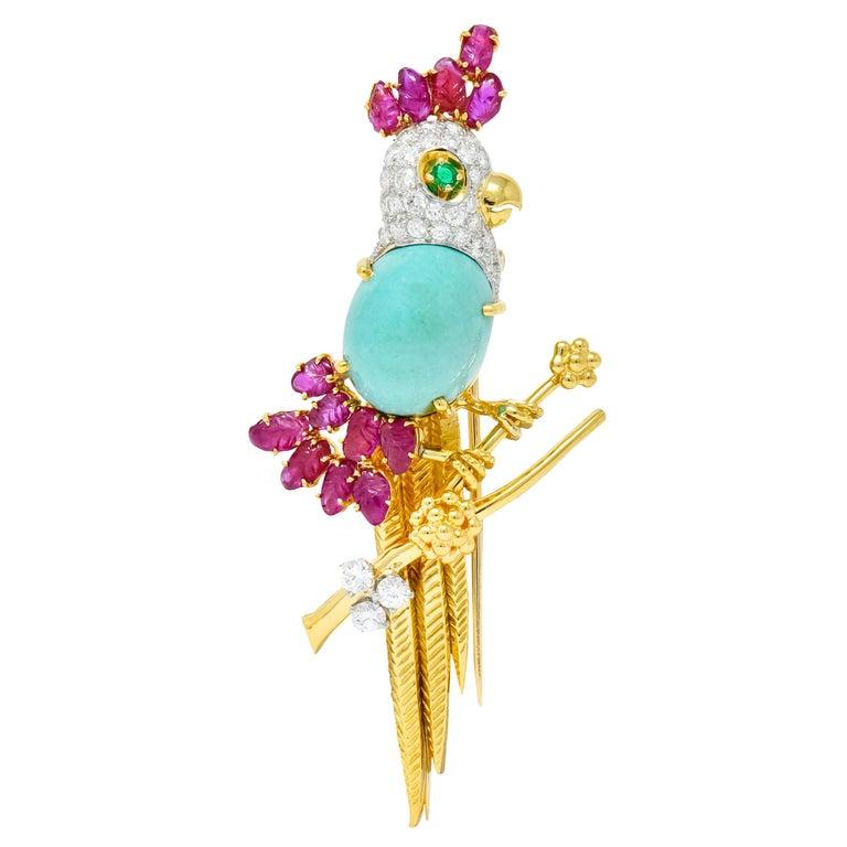 Retro Diamond Ruby Turquoise Emerald 18 Karat Gold Cockatoo Bird Brooch For Sale