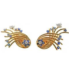 Retro Diamond Sapphire Gold Earrings