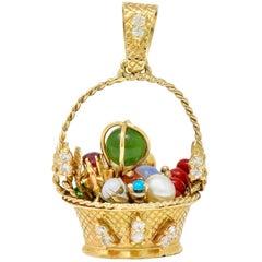 Retro Diamond Sapphire Opal Multi-Gem 14 Karat Gold Fruit Basket Pendant Charm