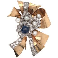 Retro Diamond Sapphire Pearl Brooch 9 Carat 18 Karat Yellow Gold
