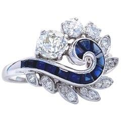 Retro Diamond Sapphire Platinum Ring