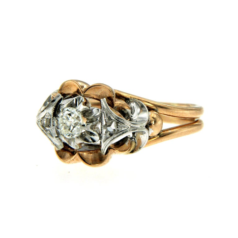 Retro Diamond two-color Gold Ring In Excellent Condition For Sale In Napoli, Italy