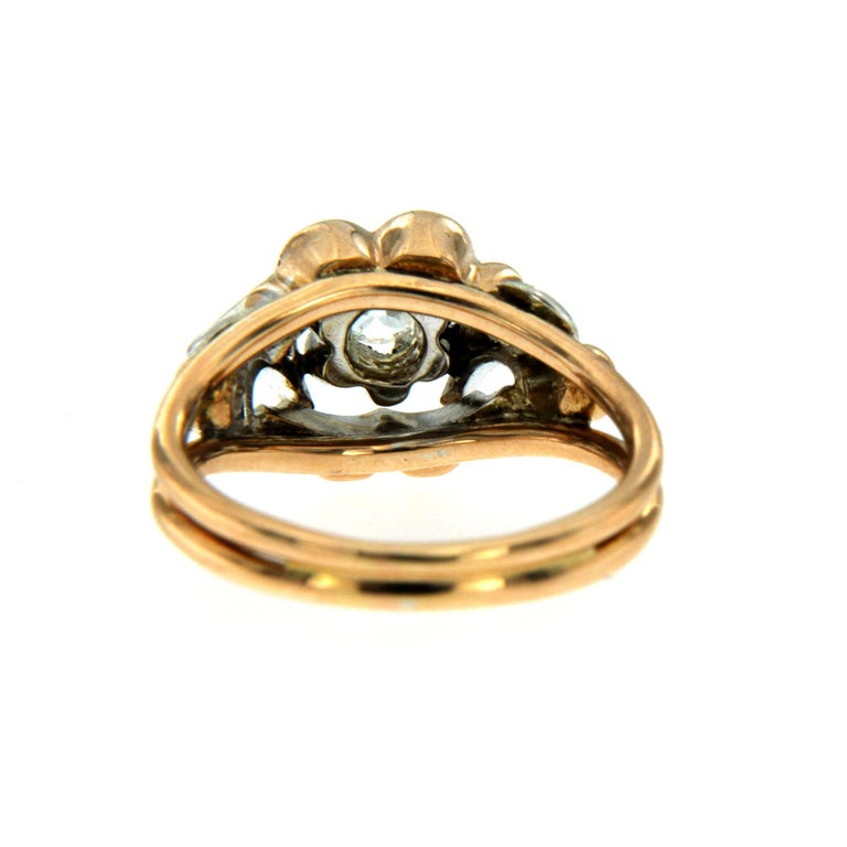 Retro Diamond two-color Gold Ring For Sale 1
