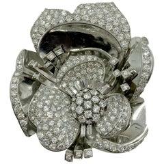 Retro Diamond White Gold Flower Brooch