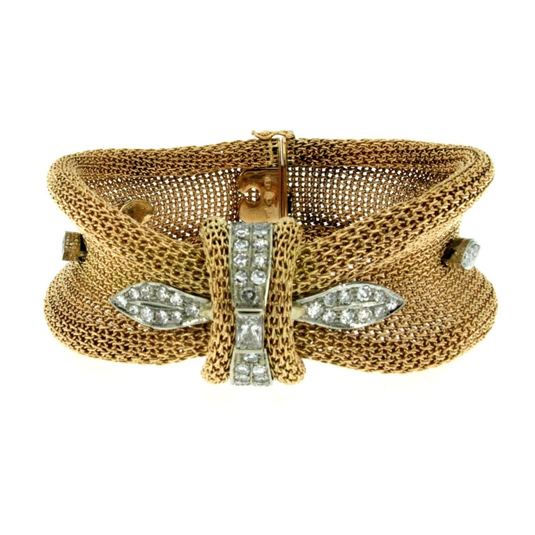 Retro Diamond Woven Gold Bracelet
