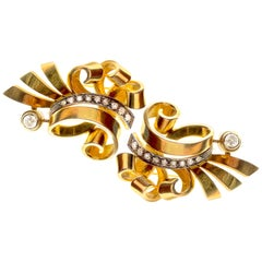 Retro Diamond Yellow Gold Swirl Dress Clips