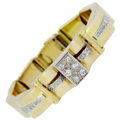 Retro Diamonds Bracelet, 18 Karat Yellow Gold and Platinum, circa 1940, France