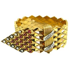 Retro Ruby and Diamonds Yellow Gold Platinum Belt Large Bracelet