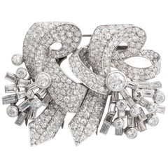 Retro Double Clip Brooch Diamond Platinum