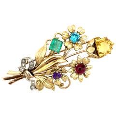 Retro Dressclip Flowers Gold Emerald Tourmaline Amethyst Citrine Diamond