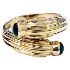 Retro Duo Emerald Cabochon 18 Karat Gold Cluster Ring