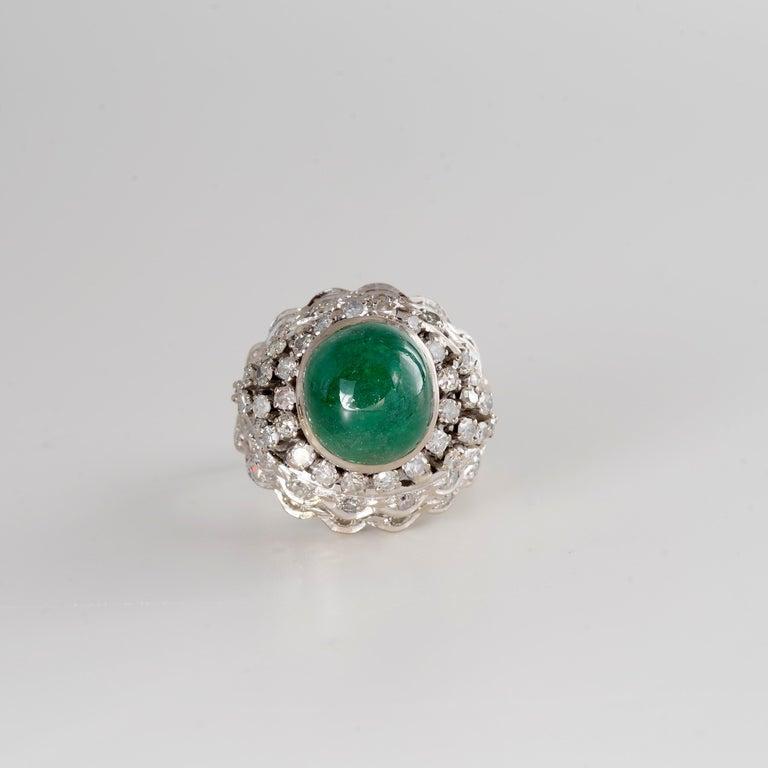 Retro Emerald Bombe Ring with Diamonds For Sale 9