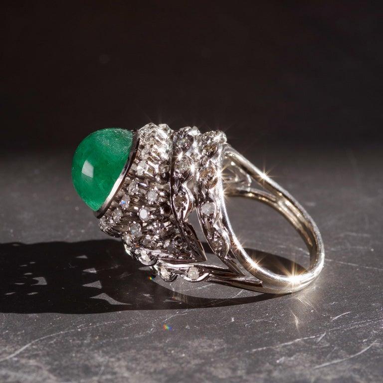 Retro Emerald Bombe Ring with Diamonds For Sale 12