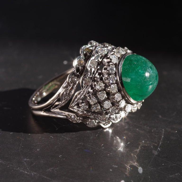 Retro Emerald Bombe Ring with Diamonds For Sale 14