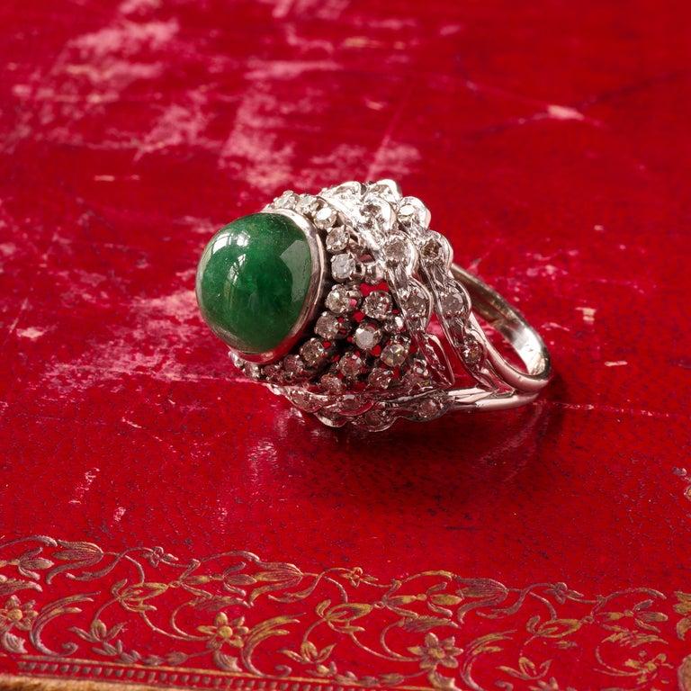 Retro Emerald Bombe Ring with Diamonds For Sale 1