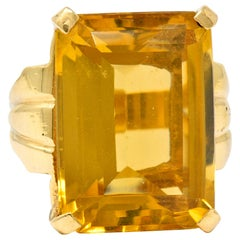 Retro Emerald Cut Citrine 14 Karat Gold Statement Ring, circa 1940