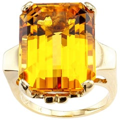Retro Emerald Cut Citrine Yellow Gold Cocktail Ring