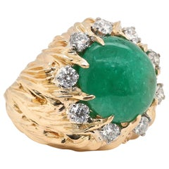 Retro Emerald Diamond 18 Karat Gold Dome Ring