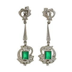 Retro Emerald Diamond Earrings