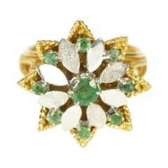 Retro Emerald Flower Gold Ring