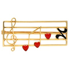 Retro Enamel 14 Karat Gold Music Clef Note Scale Brooch