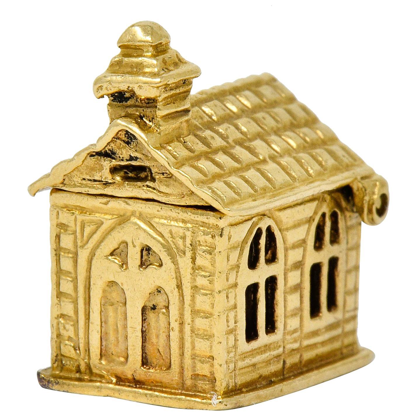 Retro Enamel 14 Karat Yellow Gold Articulated Chapel Charm