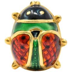 Retro Enamel 18 Karat Gold Insect Ladybug Brooch