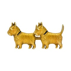 Retro Enamel Scottish Terrier 14 Karat Gold Brooch