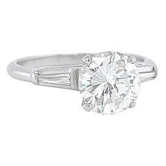 Retro Engagement Ring GIA 1.40 Carat Brilliant Cut Diamond Ring