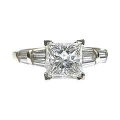 Retro-Era 1.50 Carat Princess-Cut Diamond 14K Yellow Gold Engagement Ring