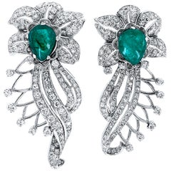 Retro Era 6 Carat Emerald and 2 Carat Diamond Flourish Post Earrings in Platinum