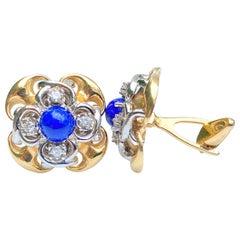 Retro-Era Cabochon Cut Lapis Lazuli and Diamond 14K Yellow Gold Cufflinks