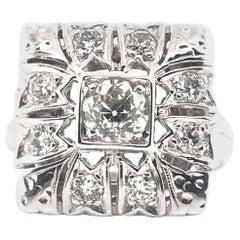Retro European Cut Diamond Cluster Ring