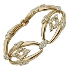 Retro Fantastic 4.0 Carat Diamond Omega Links 18 Karat Gold Bracelet