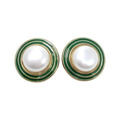 Retro Faux Pearl Hippie Clip On Earrings, Green Enamel, Late 1900s