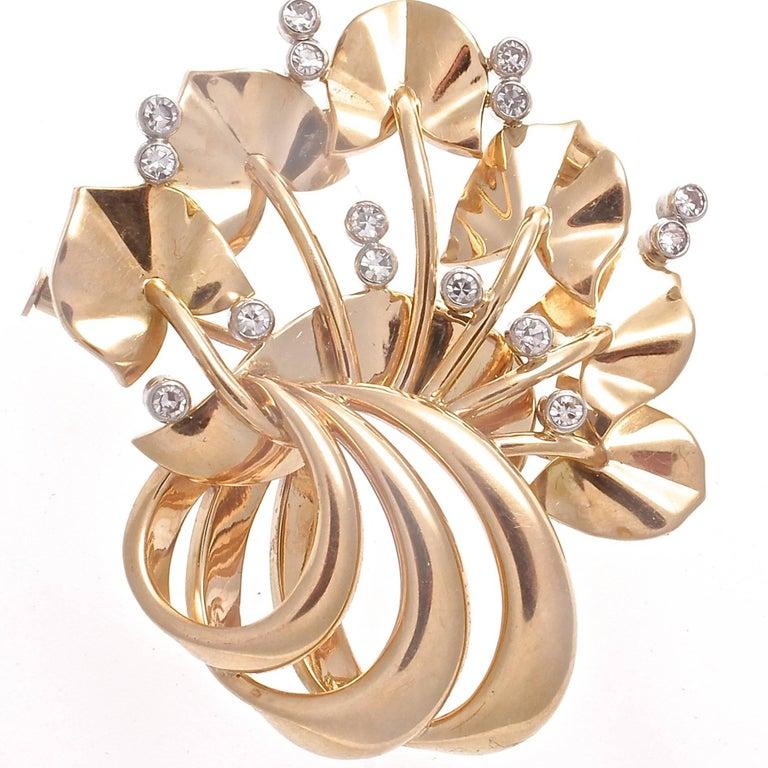 Retro Floral Motif Diamond Gold Platinum Brooch