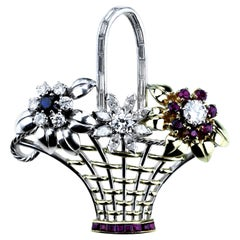 Retro Flower Basket Brooch Set with Diamond, Ruby and Sapphires in 18 Karat Gold
