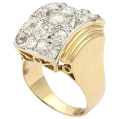 Retro French 18 Karat Gold Ring with a Cluster of Diamonds