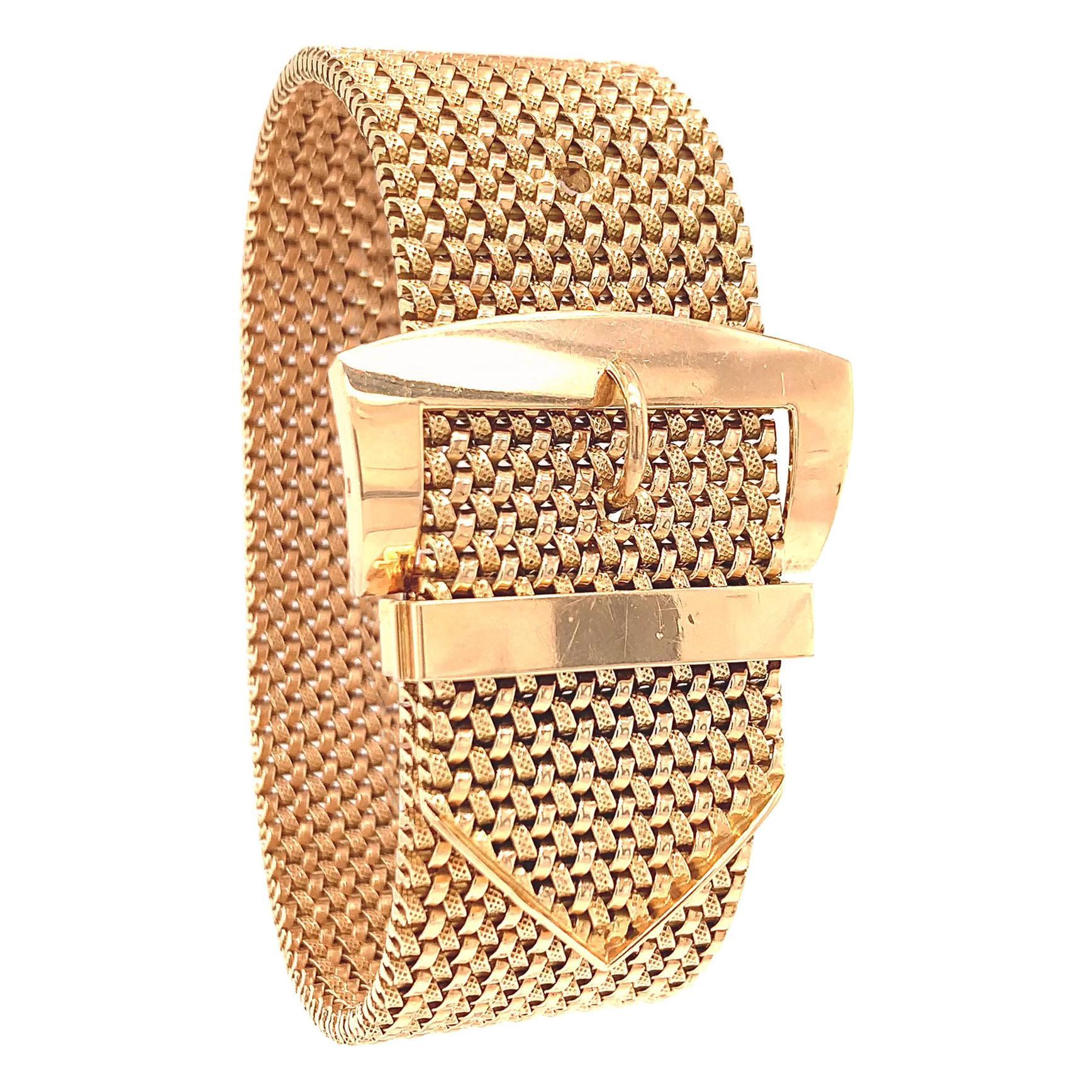 Retro French 18 Karat Rose Gold Buckle Bracelet