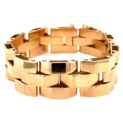 Retro French 18 Karat Rose Gold Tank Bracelet