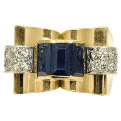 Retro French 18 Karat Yellow Gold Sapphire and Diamond Tank Ring