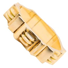Retro French 18 Karat Yellow Gold Tank Bracelet