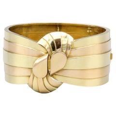Retro French 18k Two Tone Gold Bangle Bracelet