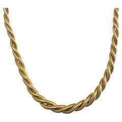 Retro French 18k Yellow & Rose Gold Tubogas Necklace