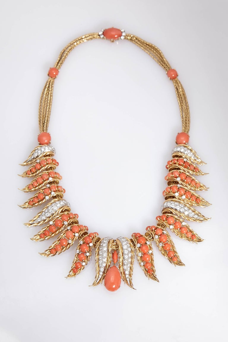Retro French Coral Diamond Necklace For Sale 1