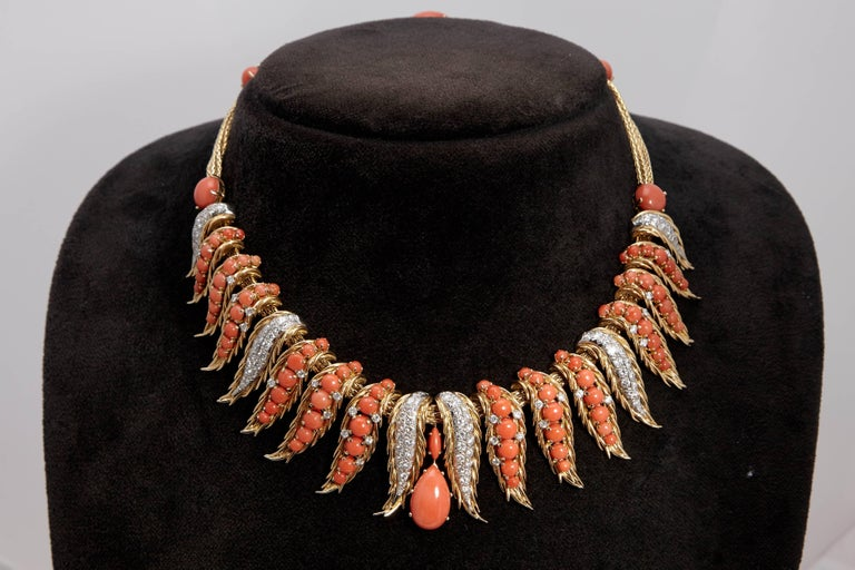 Retro French Coral Diamond Necklace For Sale 2