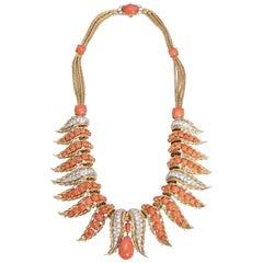 Retro French Coral Diamond Necklace