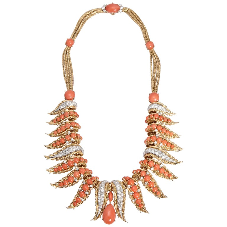 Retro French Coral Diamond Necklace For Sale