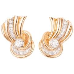 Retro French Diamond  Gold Platinum  Earrings