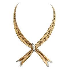 Retro French Diamond Platinum 18 Karat Gold Necklace